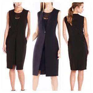 BCBGMAXAZRIA  Foster Lace Trim Vest Dress